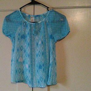 Girls blue short sleeve blouse